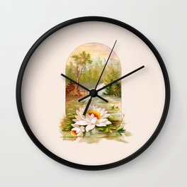Vintage Waterlilies Wall Clock