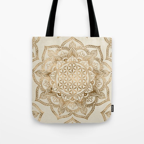Flower of Life in Lotus - pastel golds and canvas by k9printart