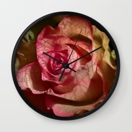 Extra veins on a rose Wall Clock