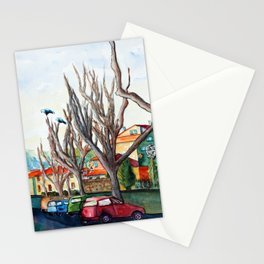 2 black birds in Valbonne village Stationery Cards