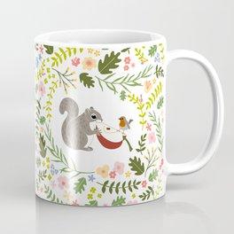 Friendship in Wildlife_Squirrel and Robin_Bg White Coffee Mug