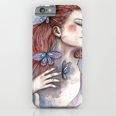 Girl with a butterfly II, watercolor artwork / illustration iPhone 6s Slim Case