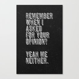 Remember when i asked for your opinion?  Yeah me Neither. Canvas Print