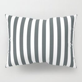PPG Night Watch Pewter Green & White Stripes, Wide Vertical Line Pattern Pillow Sham