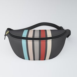 Colorful Retro Stripes Black Fanny Pack