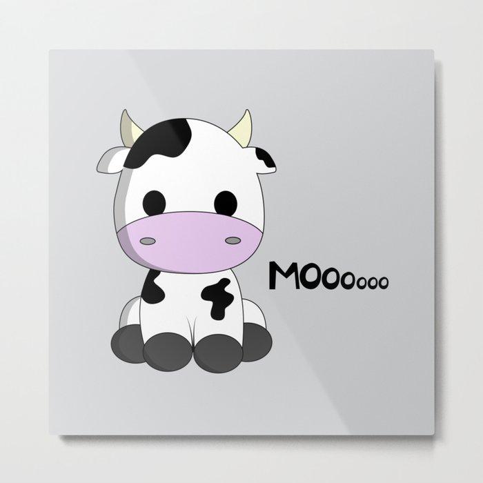 Cute baby cow cartoon Metal Print