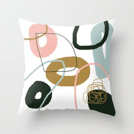 Crooked Circle Abstract Pink Blue Black Brown Throw Pillow