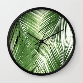 Green Palm Leaves Dream - Cali Summer Vibes #2 #tropical #decor #art #society6 Wall Clock