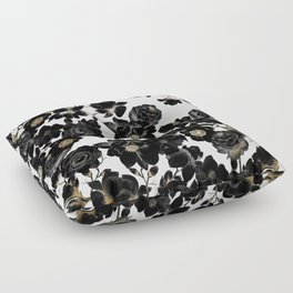 Modern Elegant Black White and Gold Floral Pattern Floor Pillow