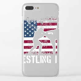 Wrestling Dad Distressed print Father Wrestling Tee Clear iPhone Case