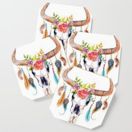 Floral and Feathers Adorned Bull Skull Coaster