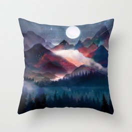 Mountain Lake Under the Stars Throw Pillow