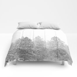 Snow Day // Black and White Winter Landscape Photography Snowing Whiteout Blizzard Comforters