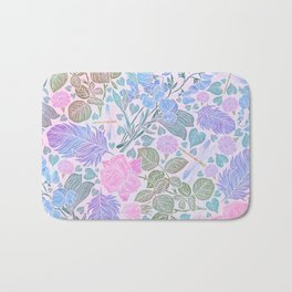 Modern Chic Lavender Blue Pink Watercolor Floral Bath Mat