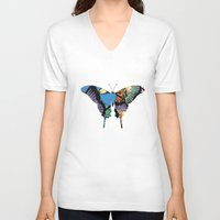 butterflies V-neck T-shirts featuring Butterflies by brushnpaper