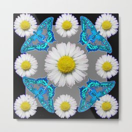 Blue Moths White Daisies Black Grey Art Metal Print