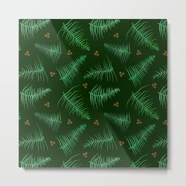 Forest Fronds & Berries Metal Print