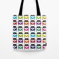 vw Tote Bags featuring VW Campervan by chauloom