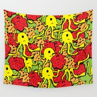 monsters Wall Tapestries featuring Monsters by Nastya Bo
