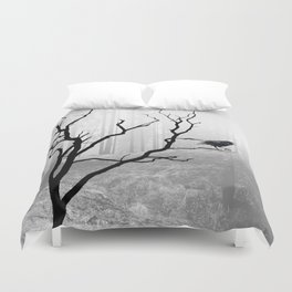 Black Crow in Foggy Forest A118 Duvet Cover
