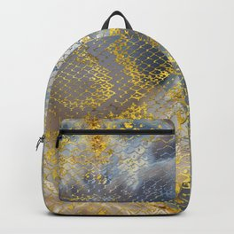 Faux gold snake skin texture on  marble Backpack