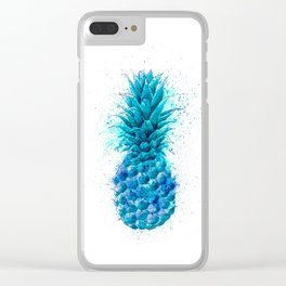 Blue Pineapple Clear iPhone Case