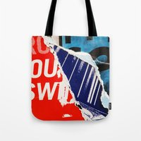 pulp fiction Tote Bags featuring Pulp Fiction by Joel Lambeth