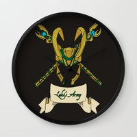 army Wall Clocks featuring Loki's Army by sophiedoodle