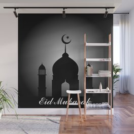 Mosque dome and minaret silhouette with Eid Mubarak Wall Mural
