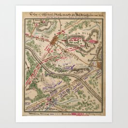 Vintage Map of The Battle of Chantilly (1865) Art Print