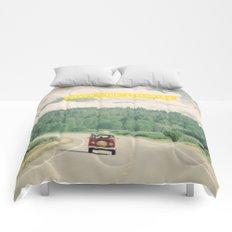 NEVER STOP EXPLORING - vintage volkswagen van Comforters
