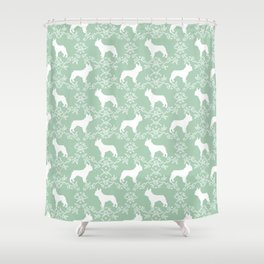 French Bulldog floral minimal mint and white pet silhouette frenchie pattern Shower Curtain