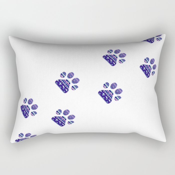 Aztec Paw Prints (Dog & Puppy, Animal Lovers) Rectangular Pillow