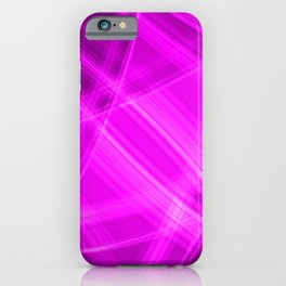 Metallic strokes with pink diagonal lines of intersecting bright stripes of light. iPhone Case