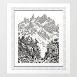 BEYOND MOUNT SHUKSAN BLACK AND WHITE VINTAGE PEN DRAWING Art Print