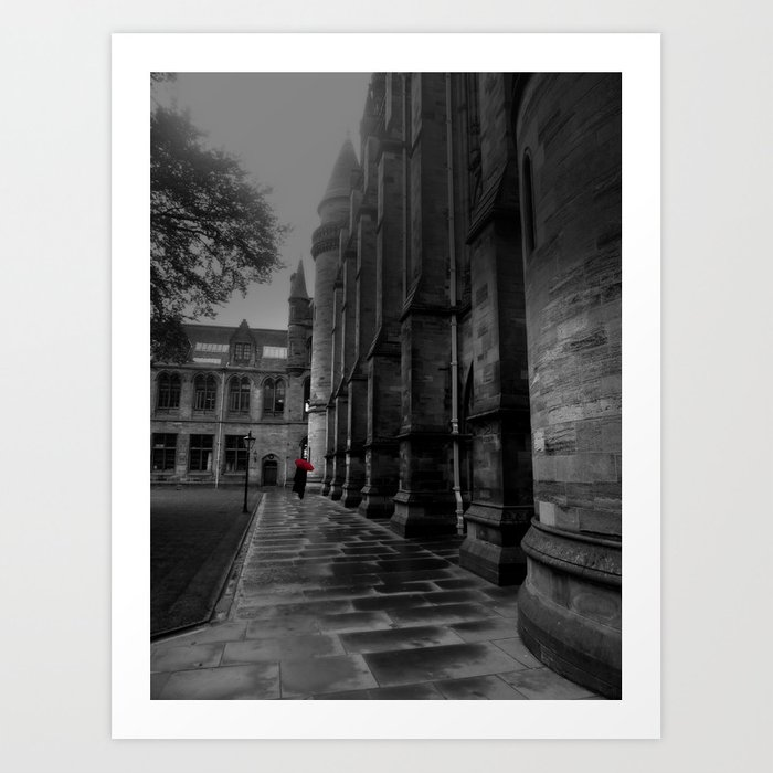Lady walking with red umbrella in the rain at university of glasgow art print