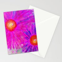 Bright Pink Sketch Flowers Stationery Cards