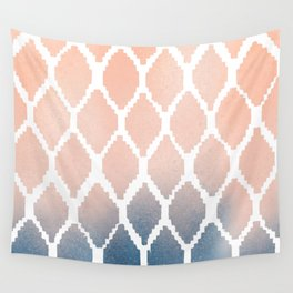 Navy and Peach Ikat Wall Tapestry