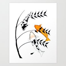 Koi Utsurimono Yellow Golden Ogon Bekko and Bamboo Art Print