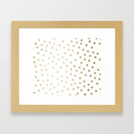 Stylish Gold Polka Dots Framed Art Print