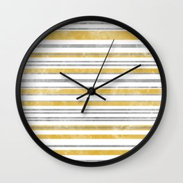Sun Kissed Stripes: Silver and Gold Wall Clock