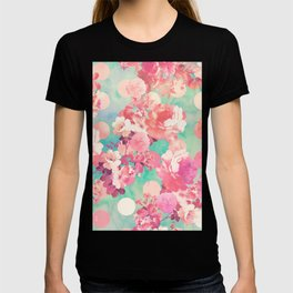 Romantic Pink Retro Floral Pattern Teal Polka Dots T-shirt