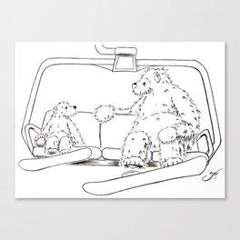 Snowboarding Bears on a Chair Canvas Print