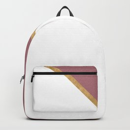 Trendy Glitter Rose Gold and White Triangle Design Backpack