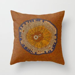 Growing - ginkgo - embroidery based on plant cell under the microscope Throw Pillow