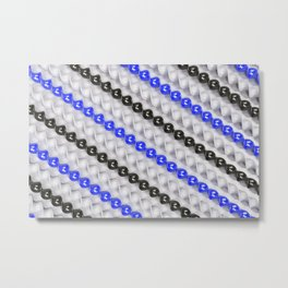 White, black and blue spirals Metal Print