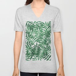 Watercolor palm leaves in green Unisex V-Neck
