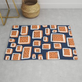 navy square Rug