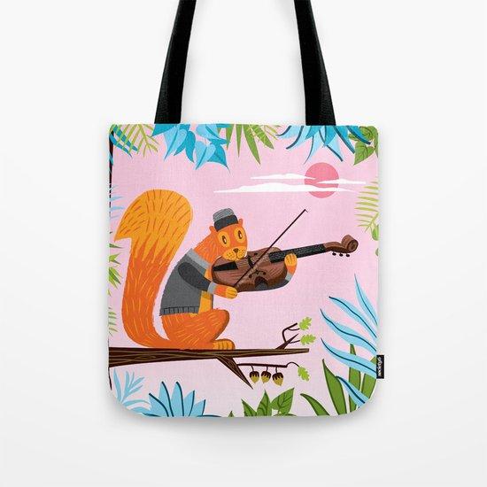 Red Squirrel Serenade Tote Bag