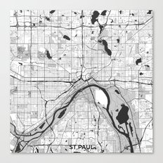 St Paul Map Gray Canvas Print